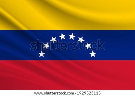 Flag of Venezuela. Fabric texture of the flag of Venezuela. Stockfoto ©