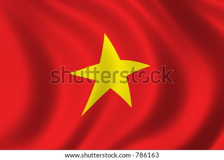 Flag of Vietnam waving in the wind
