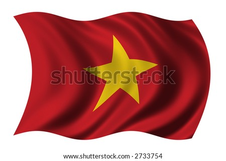 Flag of Vietnam waving in the wind - clipping path included