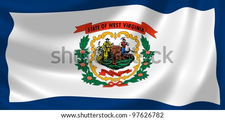 Flag of West Virginia waving in the wind detail