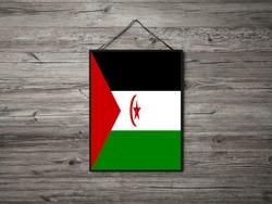 Flag of Western SaharaHanging on wall. Western SaharaFlag for advertising, award, achievement, festival, election.