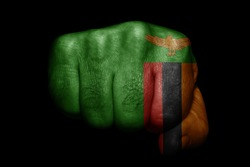 Flag of Zambia painted on strong fist on black background
