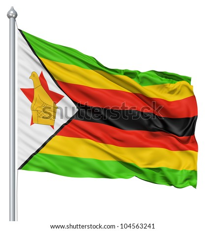 of Zimbabwe with flagpole waving in the wind against white background ...