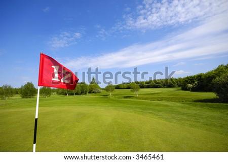 Flag on a golf course.