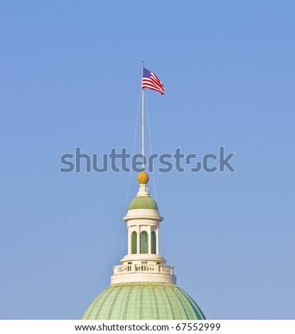 Flag on building by the arch in St, Louis Missouri