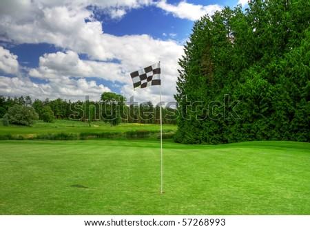 Flag on irish golf course