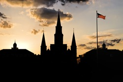 Flag Over New Orleans at Sunset