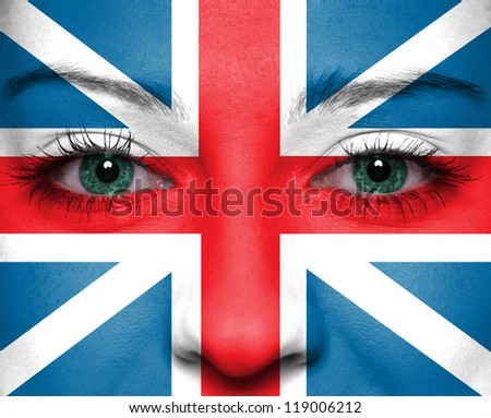 Flag painted on face - England