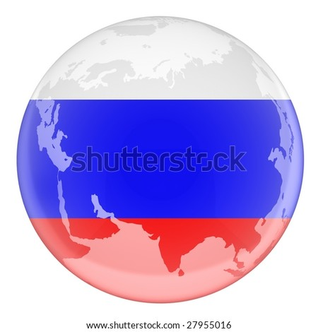flag Russian on girdle earth (done 3d,isolated)