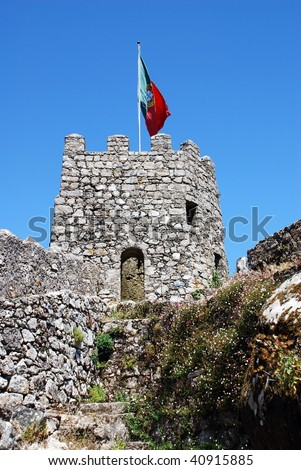 Flag Sintra Castle (Castelo dos Mouros), defensive wall and tower,  Portugal