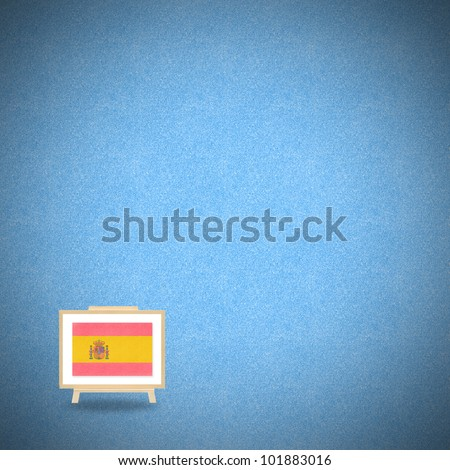 Flag spain on blue cork background (clipping path)