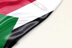 Flag Sudan: white background and place for text