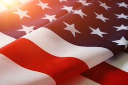 Flag United States of America in bright rays sun