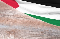 Flag Western Sahara and space for text on a wooden background