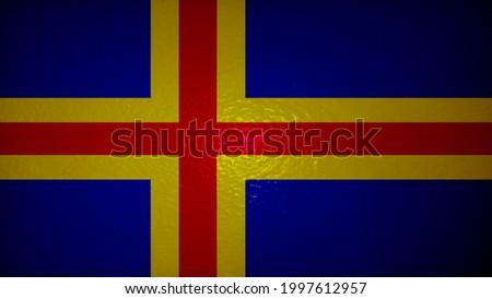 Flag with original proportions. Closeup of grunge flag of alan islands Stok fotoğraf ©