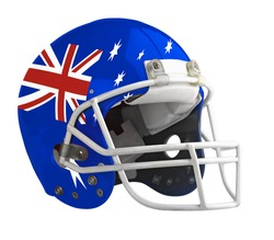 Flagged Australia American football helmet isolated on a white background with detailed clipping path.