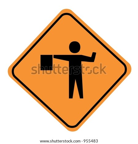 Flagger sign isolated on a white background