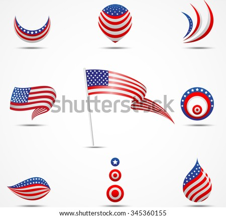 flags and icons of American
