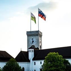 Flags at Ljubljana castle, Ljubljana, Slovenia