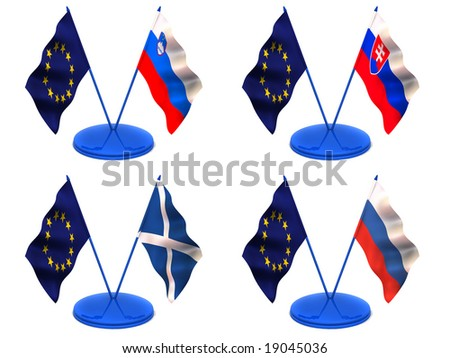 Flags. Euro, Scotland, Slovakia, Slovenia, Russia