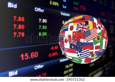 Flags globe over the display of daily stock market price quotations.  Global stock market investment concept.