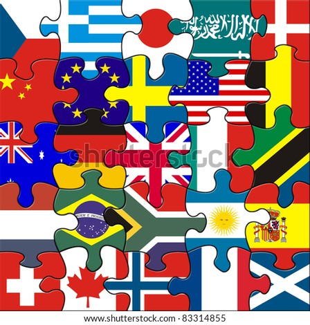 Flags in a square jigsaw