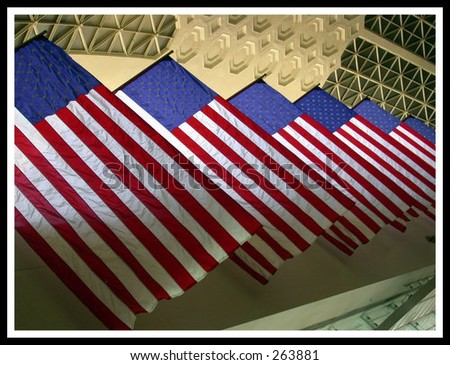 Flags in Union Station, Washington, DC, Sept. 11, 2003