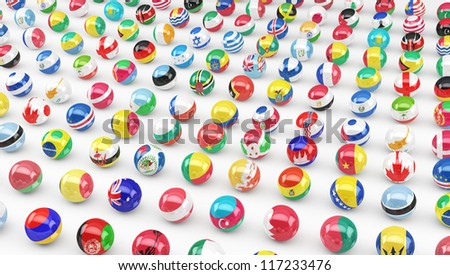 Flags of a large number of sovereign states projected as spheres on a white background.
