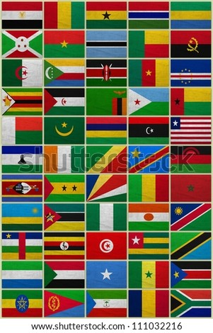Flags of all African countries on a sackcloth background