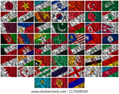 Flags of all Asia countries on a silk background