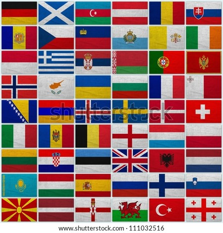 Flags of all European countries on a sackcloth background