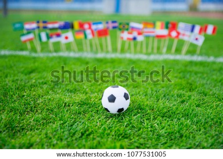 Flags of all football nations on green grass. Football ball, Fans, support photo, edit space.  #1077531005