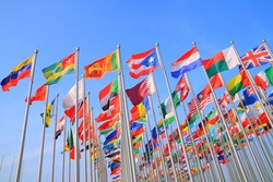 Flags of all nations of the world are flying