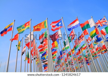 Flags of all nations of the world are flying  Photo stock ©