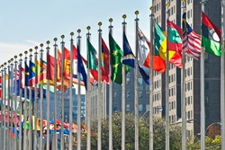 Flags of all nations outside the UN in New York City.