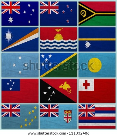 Flags of all Oceanian countries on a sackcloth background - stock photo