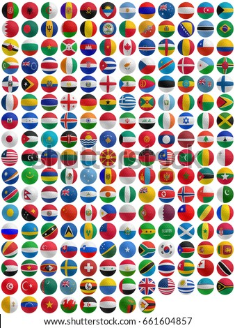flags of countries superimpose onto a golf ball #661604857