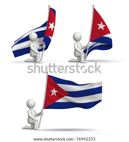 flags of Cuba waving in the wind