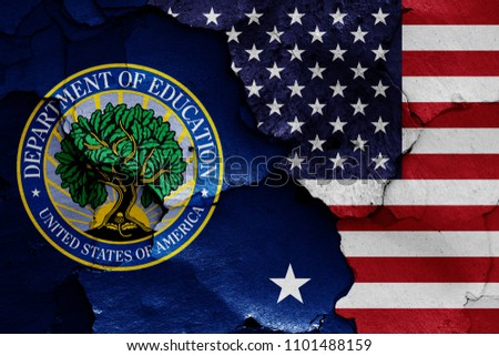 flags of Department of Education and USA