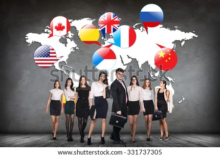 Flags of different countries on the white map. Elements of this image furnished by NASA