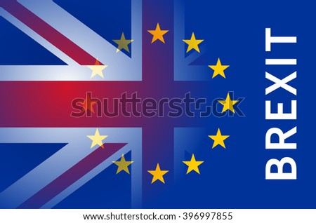 Flags of European Union and United Kingdom with inscription Brexit. #396997855