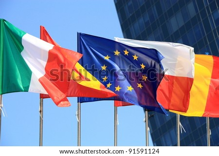Flags of European Union countries.