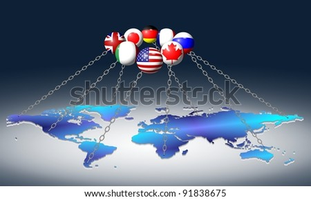 Flags of G8 group members holding world with chains / G8 and World