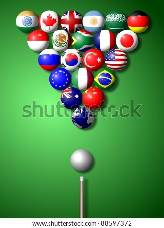 Flags of G20 group members shaped and set as pool balls / G20 billiard