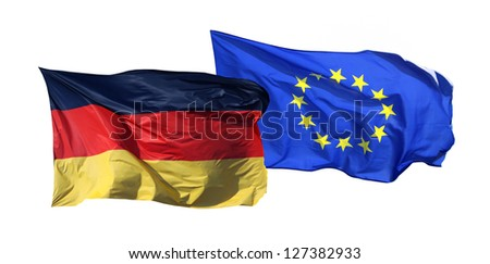 Flags of Germany and EU, isolated on white background