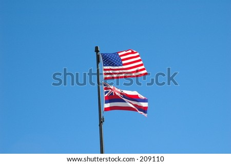 Flags of Hawaii and USA