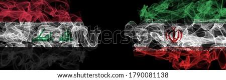 Flags of Iraq and Iran on Black background, Iraq vs Iran Smoke Flags