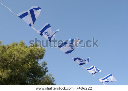 Flags of Israel - stock photo