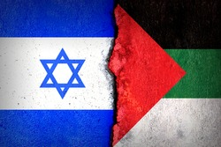 Flags of Israel and Palestine painted on cracked wall background. Concept of the Conflict between Israel and the Palestinian Authorities.