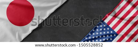 Flags of Japan and the United States of America with copy space #1505528852